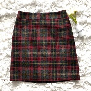 Boden Red Gray Yellow Wool Plaid Skirt Sz 2